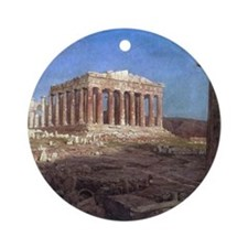 Frederic Edwin Church The Parthenon Round Ornament