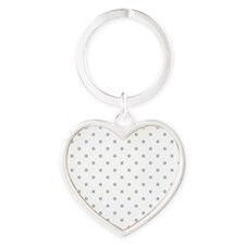 Light Gray Dot Pattern. Heart Keychain