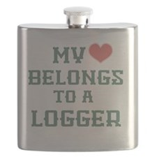 My Heart Belongs to a Logger - pink and gree Flask