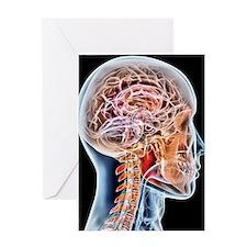 Internal brain anatomy, artwork Greeting Card