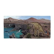 Mesozoic reptiles, artwork Beach Towel