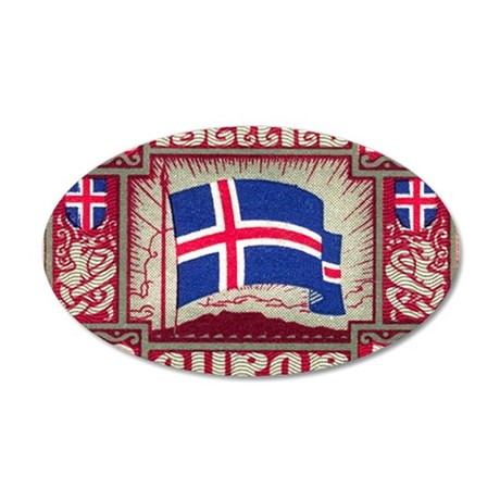 1930 Iceland Flag Postage St 35x21 Oval Wall Decal