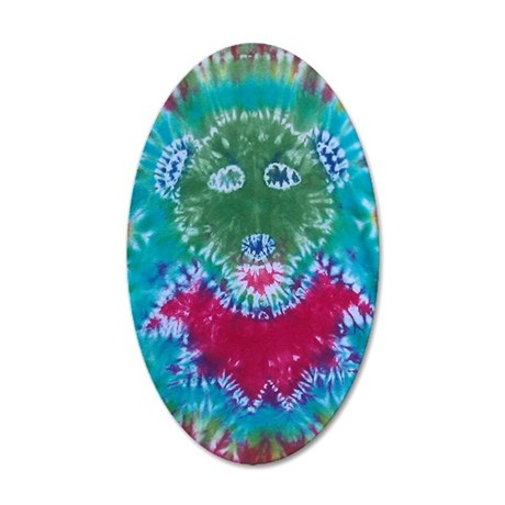 Tie Dyed Jerry Bear 35x21 Oval Wall Decal
