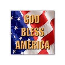"God Bless America Square Sticker 3"" x 3"""
