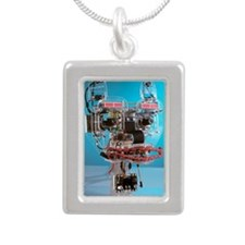 Humanoid robot Silver Portrait Necklace