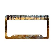 Sabre-toothed cats fighting License Plate Holder