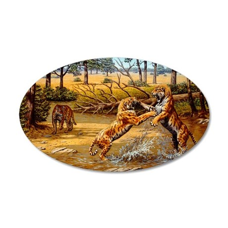 Sabre-toothed cats fighting 35x21 Oval Wall Decal