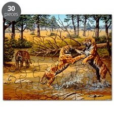 Sabre-toothed cats fighting Puzzle