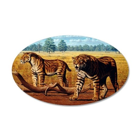 Sabre-toothed cats, artwork 35x21 Oval Wall Decal