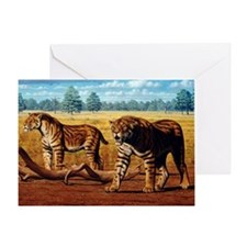 Sabre-toothed cats, artwork Greeting Card