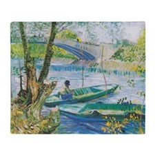 Van Gogh Fishermen and Boats Throw Blanket