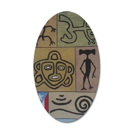 Taino Petroglyphs 35x21 Oval Wall Decal