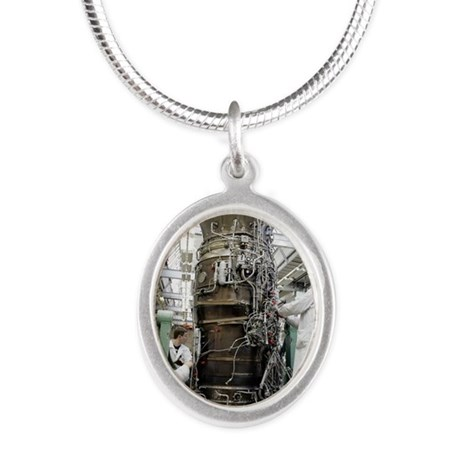 Jet aircraft engine productio Silver Oval Necklace