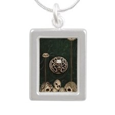 Green Book with Skulls Silver Portrait Necklace