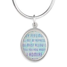Darcy Quote Silver Oval Necklace