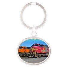 Mighty Trains Calendar Oval Keychain