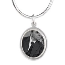 Carl Sagan, US astronomer Silver Oval Necklace