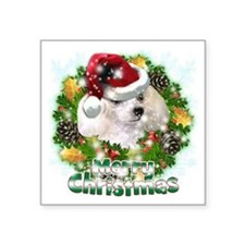 "Merry Christmas Poodle Square Sticker 3"" x 3"""