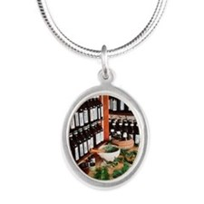 Herbal pharmacy Silver Oval Necklace
