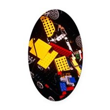 Assorted Lego bricks and cogs Oval Car Magnet