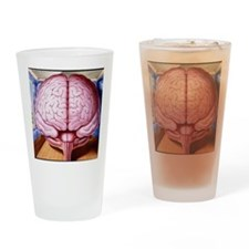 Artwork of human brain enclosed in  Drinking Glass
