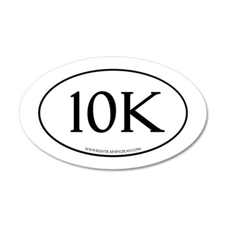 10K Running Achievement Whit 35x21 Oval Wall Decal