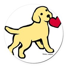 Yellow Lab Puppy Heart Round Car Magnet