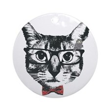 Cat with glasses Round Ornament
