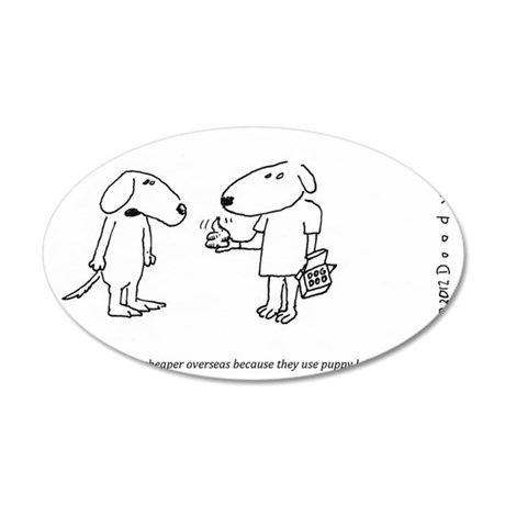 PUPPY DOG LABOR 35x21 Oval Wall Decal