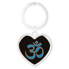 Om Heart Keychain