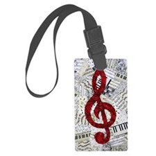 Red Treble Clef Large Luggage Tag