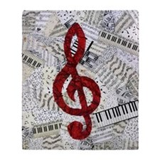 Red Treble Clef Throw Blanket