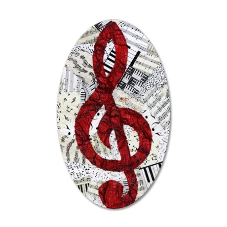 Red Treble Clef 35x21 Oval Wall Decal