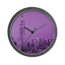 Purple NYC Skyline Wall Clock