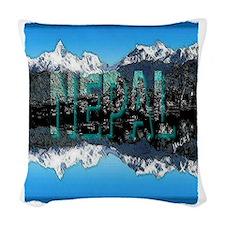 nepal mount everest art illust Woven Throw Pillow