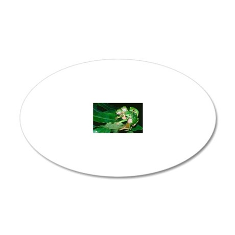 Mating green tree frogs 20x12 Oval Wall Decal