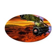 Mars mining vehicle Oval Car Magnet