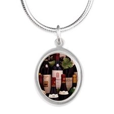 Bottles of wine Silver Oval Necklace