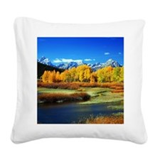 Fall Mountains Square Canvas Pillow