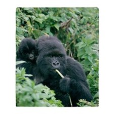 Mountain gorilla and infant Throw Blanket