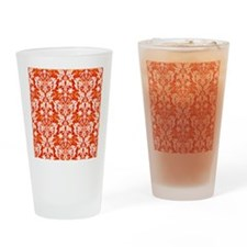Orange Damask Drinking Glass