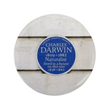 "Charles Darwin commemorative plaque 3.5"" Button"