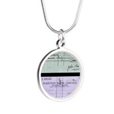 Cheque fraud Silver Round Necklace