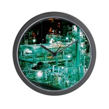 Oil refinery at night Wall Clock