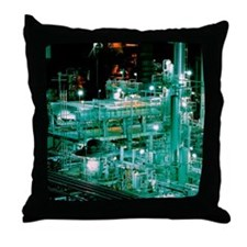 Oil refinery at night Throw Pillow