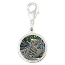 Snow Leopard Cub Silver Round Charm