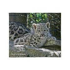 Snow Leopard Cub Throw Blanket