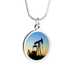 Oil well pump Silver Round Necklace
