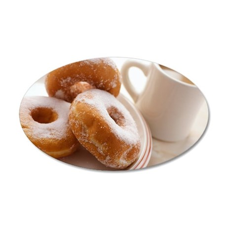 Coffee and doughnuts 35x21 Oval Wall Decal