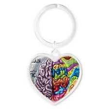 Left Brain, Right Brain Heart Keychain